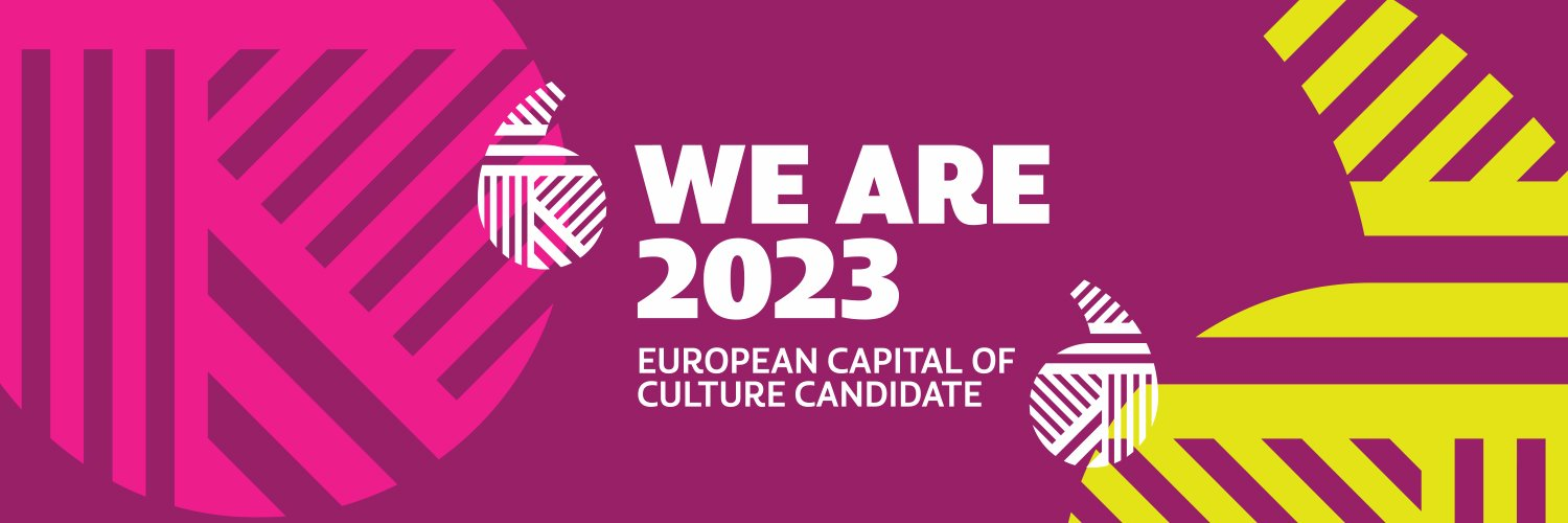 The logo for the bid in pink, purple, white and yellow with the words 'We Are 2023 European Capital of Culture Candidate'